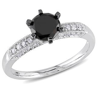 Miadora 10k White Gold 1 1/4ct TDW Black and White Diamond Engagement Ring (H-I, I2-I3)