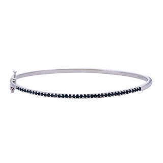 Sterling Silver Genuine Blue Sapphire Bangle