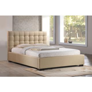 LuXeo Cresent Tufted Contemporary Upholstered Beige Platform Bed