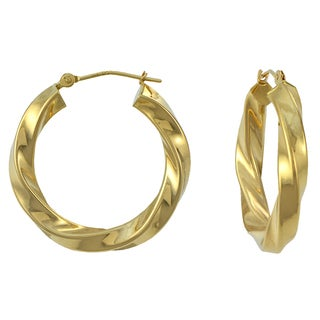 14k Yellow Gold Twisted Square Tube Hoop Earrings
