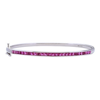 Sterling Silver Created Ruby Bangle