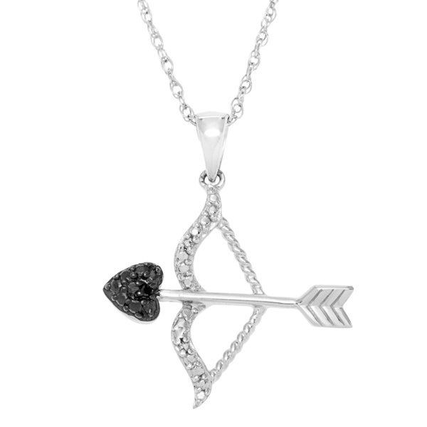 Sterling Silver Diamond Accent Bow and Arrow Pendant Necklace