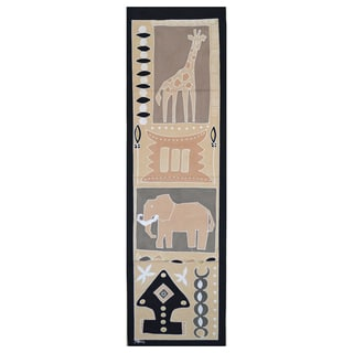 Hand-painted 'Giraffe and Elephant' Tapestry (Zambia)