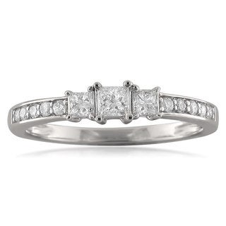 14k White Gold 1/2ct TDW Princess-cut Three-stone Diamond Ring (H-1, I-1)