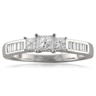14k White Gold 3/4ct TDW Princess-cut Three Stone Diamond Ring (H-I, I1)