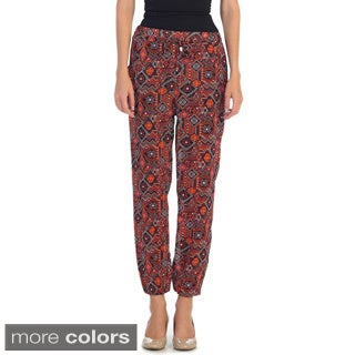 Hadari Women's Casual Elastic Side Pocket Aztec Pants