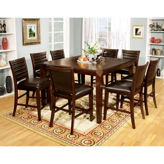 Furniture of America Disanyi 7-Piece Brown Cherry Counter Height Dining Set