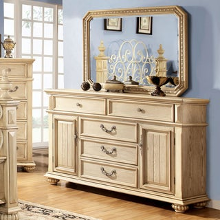 Furniture of America Lucielle 2-piece Antique White Dresser and Mirror Set