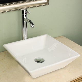 Highpoint Collection 16 inch Square White Vessel Sink with Faucet and Drain Combo