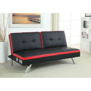 Furniture of America Ascari Split Back Leatherette Futon Sofa with Bluetooth Speakers