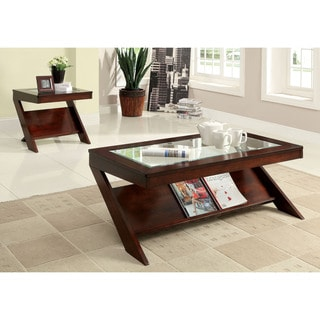 Furniture of America Martolla 2-Piece Angled Dark Cherry Coffee and End Table Set