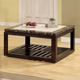 Furniture of America Persaph Faux Marble Square Top Mobile Cocktail Table