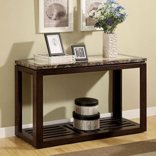 Furniture of America Persaph Faux Marble Top Dark Walnut Sofa Table