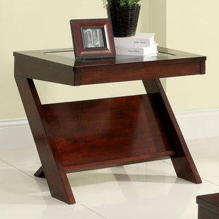 Furniture of America Martolla Angled Dark Cherry End Table