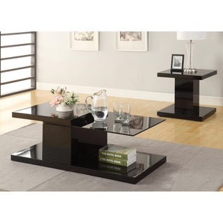 Furniture of America Vironte 2-Piece High Gloss Swivel Top Accent Table Set
