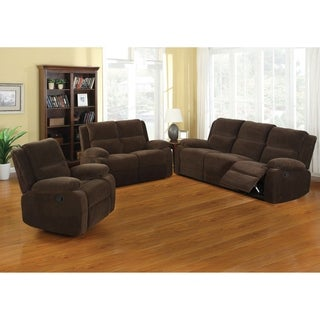 Furniture of America Borrison 3-Piece Dark Brown Flannelette Recliner Sofa Set