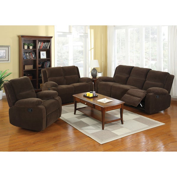 Furniture Of America Borrison 3 Piece Dark Brown Flannelette Recliner Sofa Set 16349319