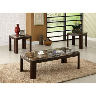Furniture of America Telami 3-Piece Faux Marble Top Accent Table Set