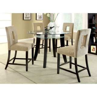 Furniture of America Ethanar 5-Piece Round Counter Height Set