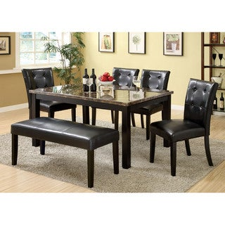 Furniture of America Perthien 6-Piece Faux Marble Dining Set