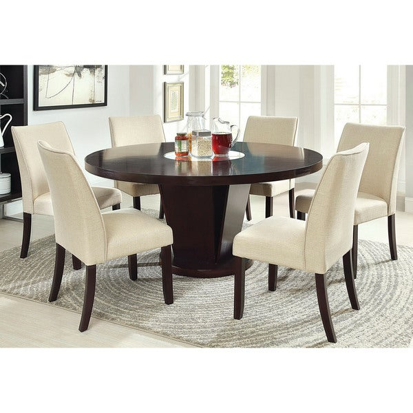 Furniture of america lolitia 7 piece espresso round 60 for 6 chair round dining table set