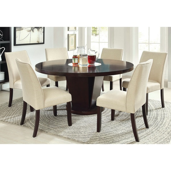 Furniture Of America Lolitia 7 Piece Espresso Round 60