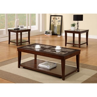 Furniture of America Cassan 3-Piece Faux Marble Insert Accent Table Set