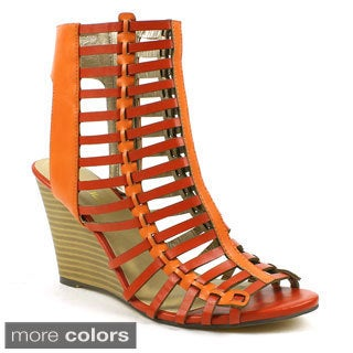 Mark & Maddux Women's 'Elisha-08' Caged Gladiator Cut-out Wedge