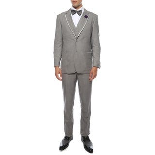 Ferrecci Mens Premium Slim Fit 3-piece Grey Tuxedo Suit
