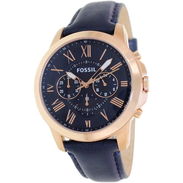 Fossil Men's FS4835 'Grant' Analog Quartz Blue Watch