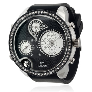 Geneva Platinum Men's Silicone Rhinestone Time Zones Watch