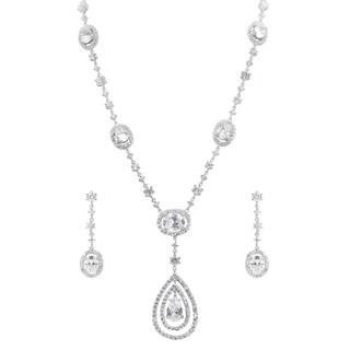 Journee Collection Brass Cubic Zirconia Drop Jewelry Set