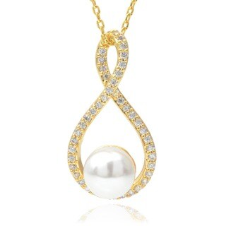 Journee Collection Goldtone Cubic Zirconia Faux Pearl Pendant Necklace