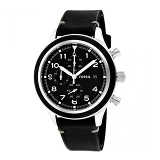 Fossil Men's JR1440 'Compass' Black Leather Watch