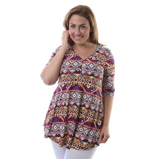 24/7 Comfort Apparel Women's Plus Size Tribal Print Elbow Sleeve Tunic
