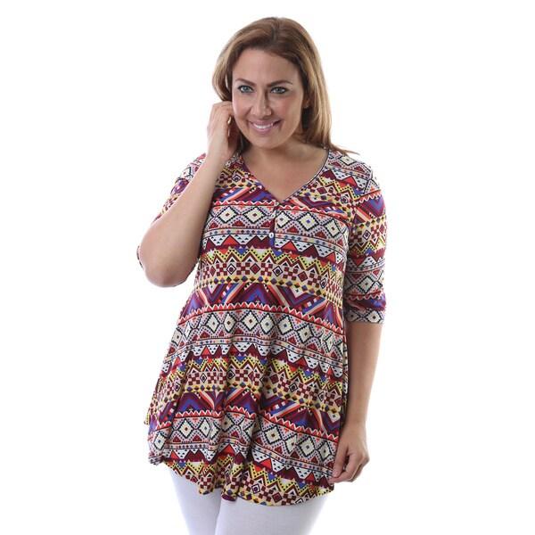 24/7 Comfort Apparel Women's Plus Size Tribal Print Elbow Sleeve Tunic