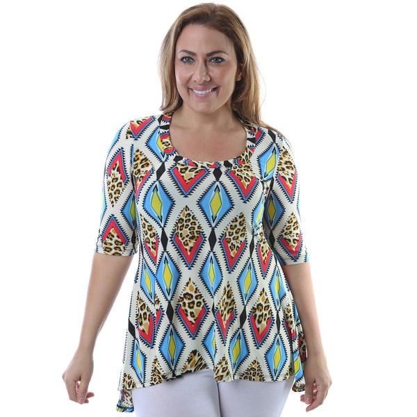 24/7 Comfort Apparel Women's Plus Size Multicolor Mixed Print High-low Elbow Sleeve Tunic
