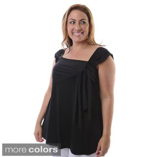 24/7 Comfort Apparel Women's Plus Size Side-tie Tunic Tank Top