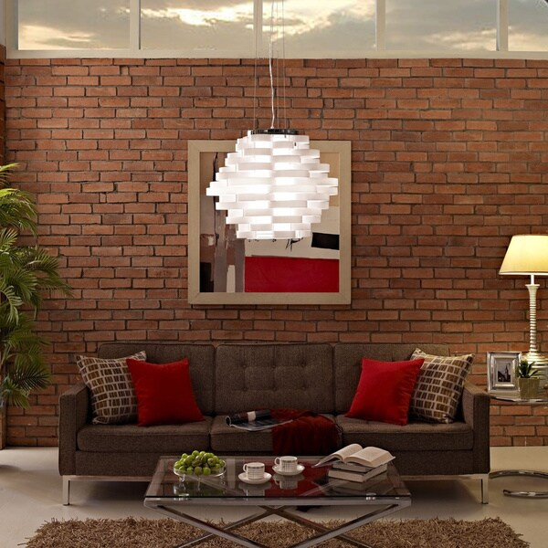 Modway Loop White Pendant Light