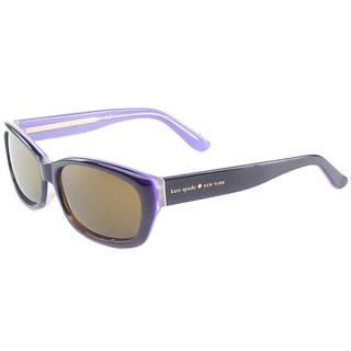 Kate Spade Womens Ginnie X31P Black Violet Plastic Cat Eye Polarized Sunglasses