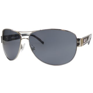 US Polo Association Unisex Palm Beach Shiny Silver and Black Metal Aviator Sunglasses