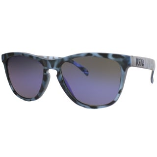 US Polo Association Unisex Malibu Matte Blue Tortoise Plastic Sunglasses