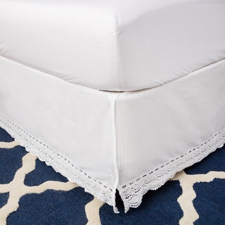 White Crochet Lace 18-inch Drop Bedskirt