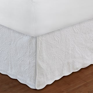 White Paisley Quilted 18-inch Drop Bedskirt