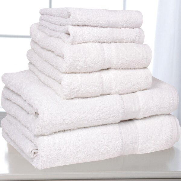 Solid White 100-percent Cotton 6-piece Towel Set