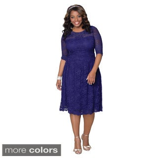 Kiyonna Women's Plus Scalloped Luna Lace Dress