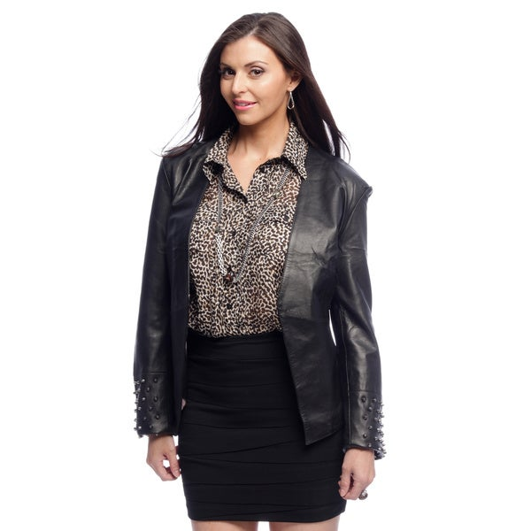 NDK New York Women's Trendy Lambskin Fitted Studded Blazer