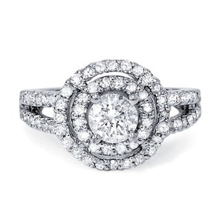 14k White Gold 1 1/4ct TDW Diamond Double Round Halo Vintage-style Engagement Ring (G-H, SI3)