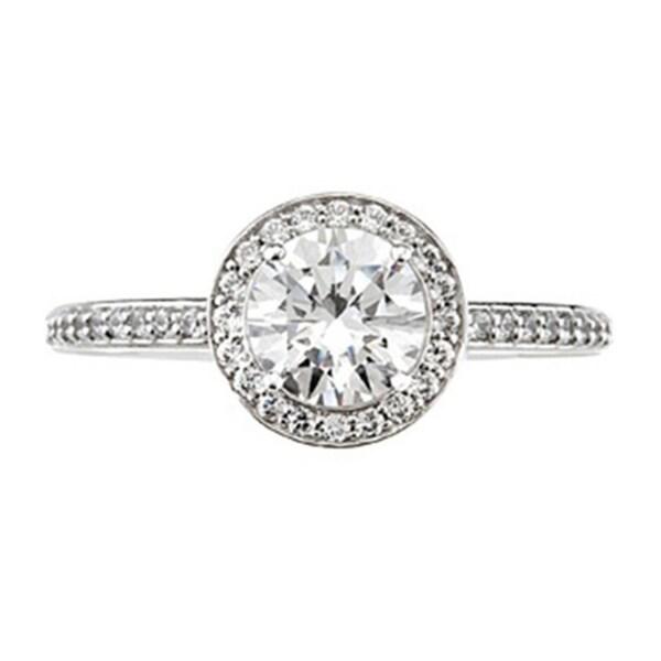 14k White Gold 1ct TDW Diamond Halo Vintage-style Engagement Ring (I-J, I1-I2)