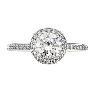 Bliss 14k White Gold 1ct TDW Diamond Halo Vintage-style Engagement Ring (G-H, I1-I2)